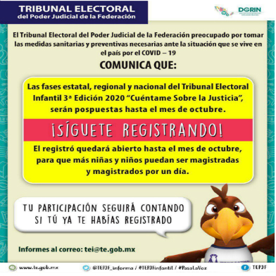 Convocatoria del Tribunal Electoral Infantil 2020